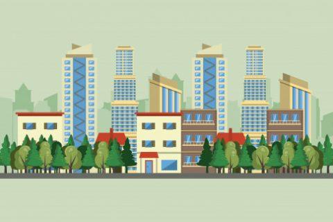 edificios urbanos com paisagem urbana