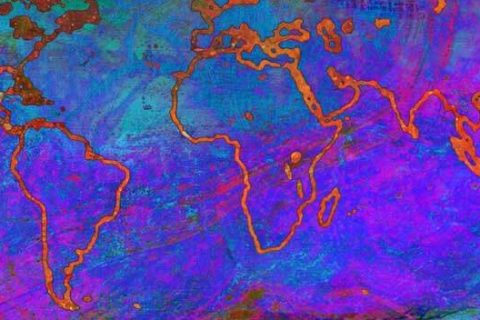 mapa mundi com cores relacionadas ás temperaturas